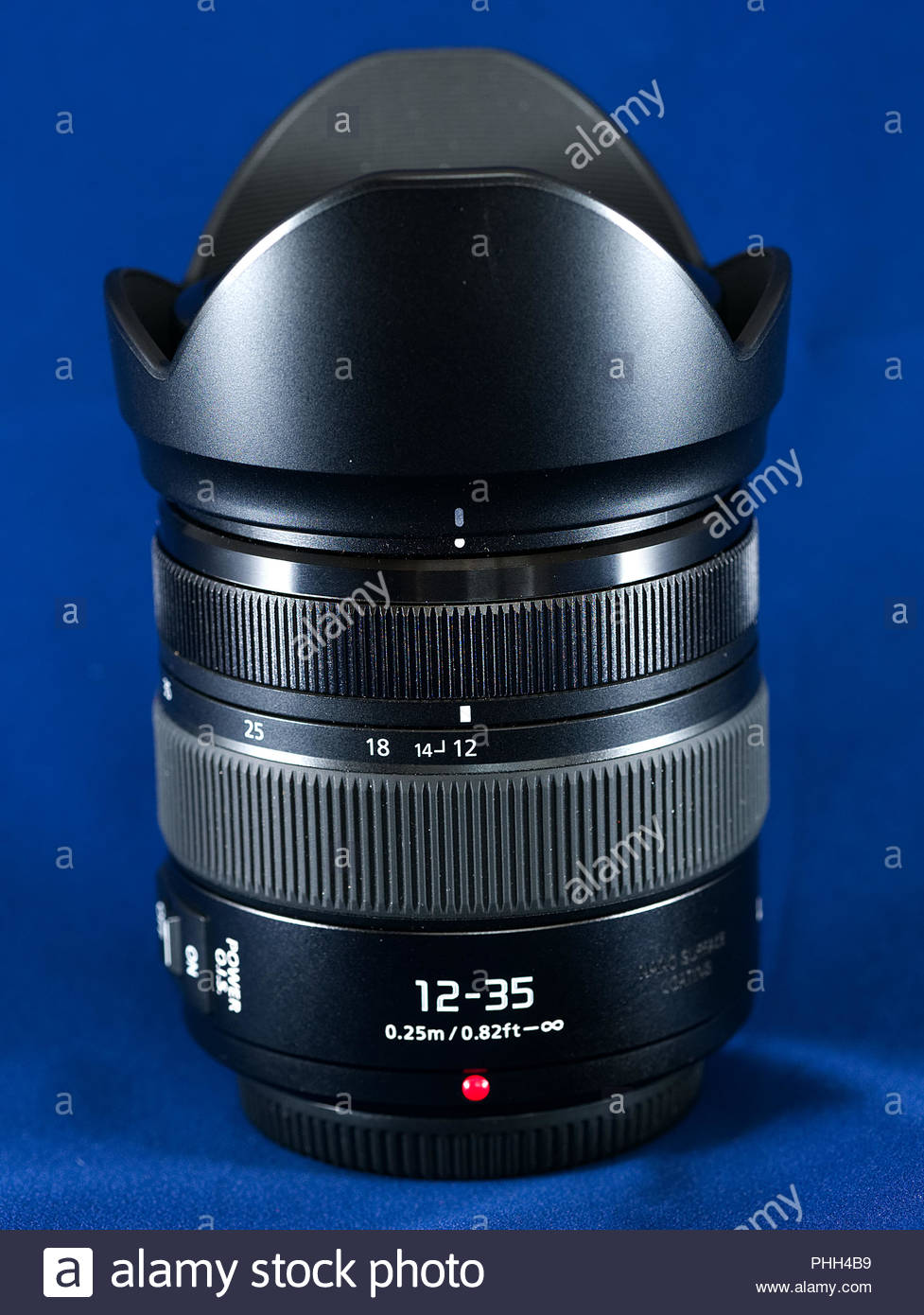 A Panasonic 12 - 35mm f2.8 standard zoom lens for micro four thirds lumix cameras - Stock Image