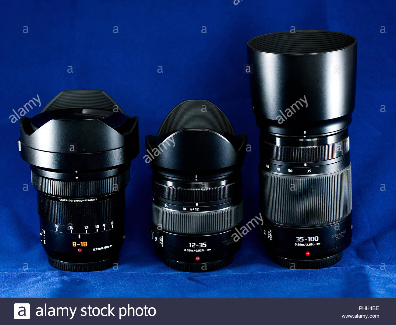 A group of Panasonic lenses for micro four thirds format lumix cameras. - Stock Image