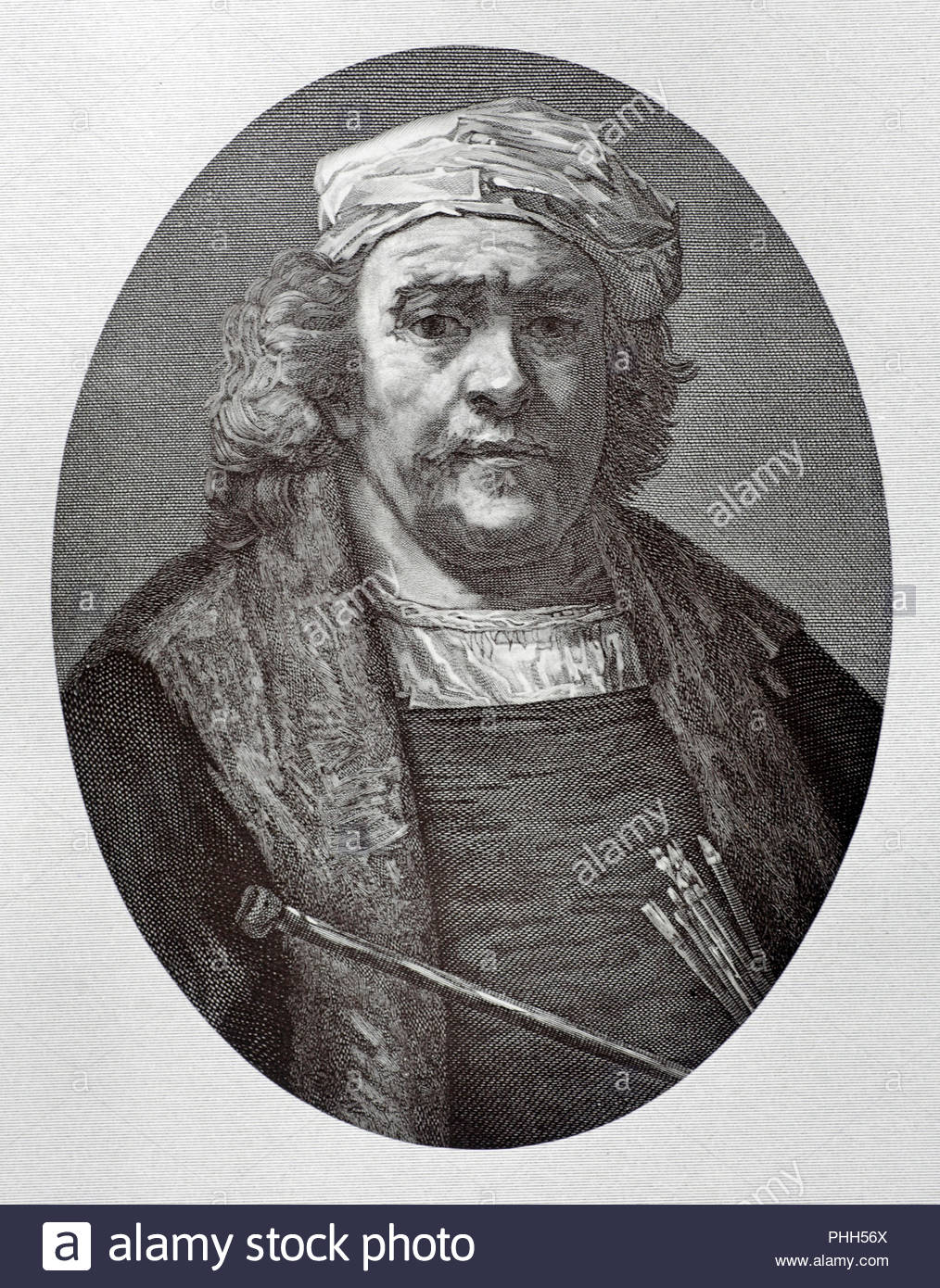 Rembrandt Harmenszoon van Rijn in old age, 1606 – 1669 was a Dutch draughtsman, painter and printmaker, antique illustration from 1880 - Stock Image
