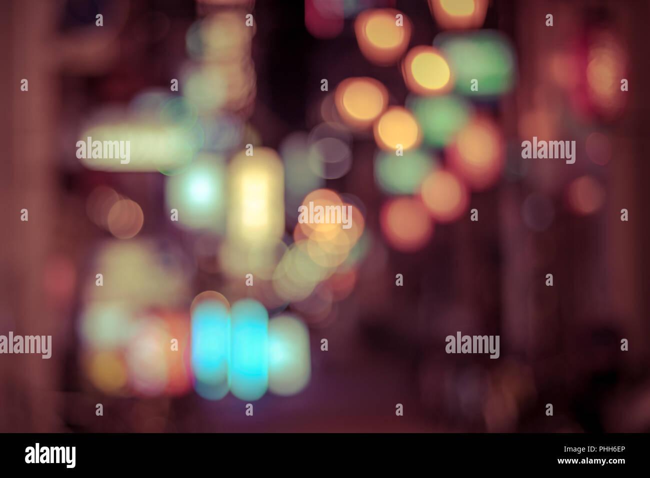 Big city lights bokeh background Stock Photo