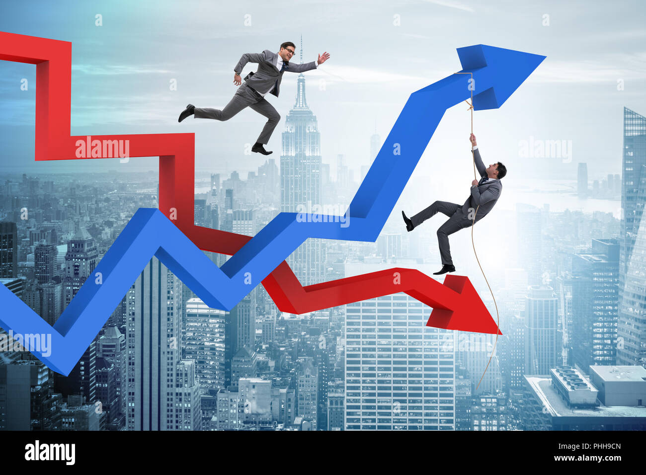 Business concept of both crisis and recovery Stock Photo