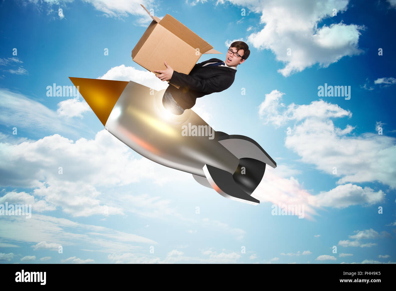 Businessman in fast delivery service Stock Photo