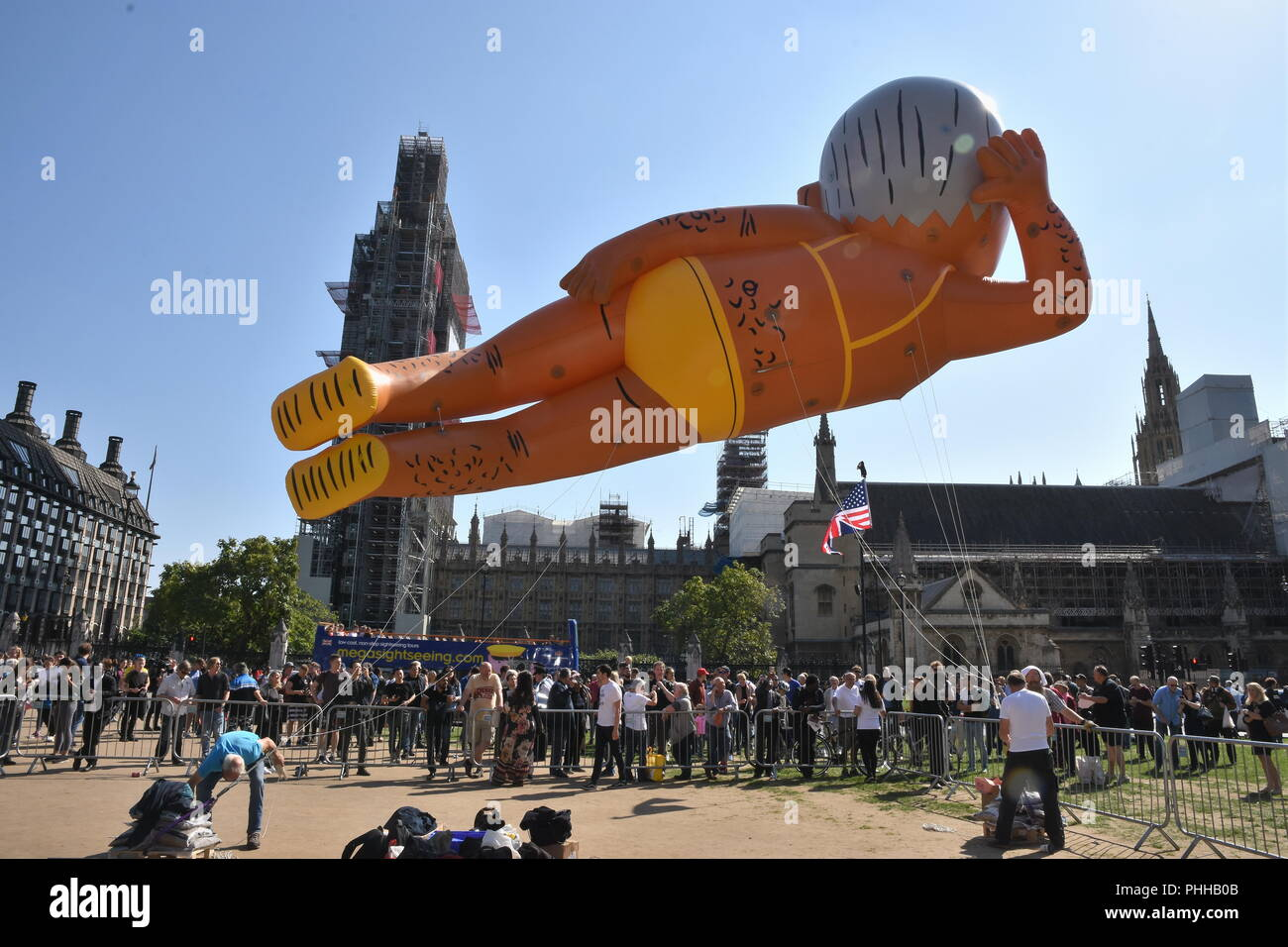 London, UK. 1st September, 2018. Make London Safe Again Campaigners flew a 29 ft balloon of Sadiq Khan wearing a bikini to mark the fight back against rising knife and gun crime amid the lack of action from the London Mayor,Parliament Square,London.UK Credit: michael melia/Alamy Live News - Stock Image