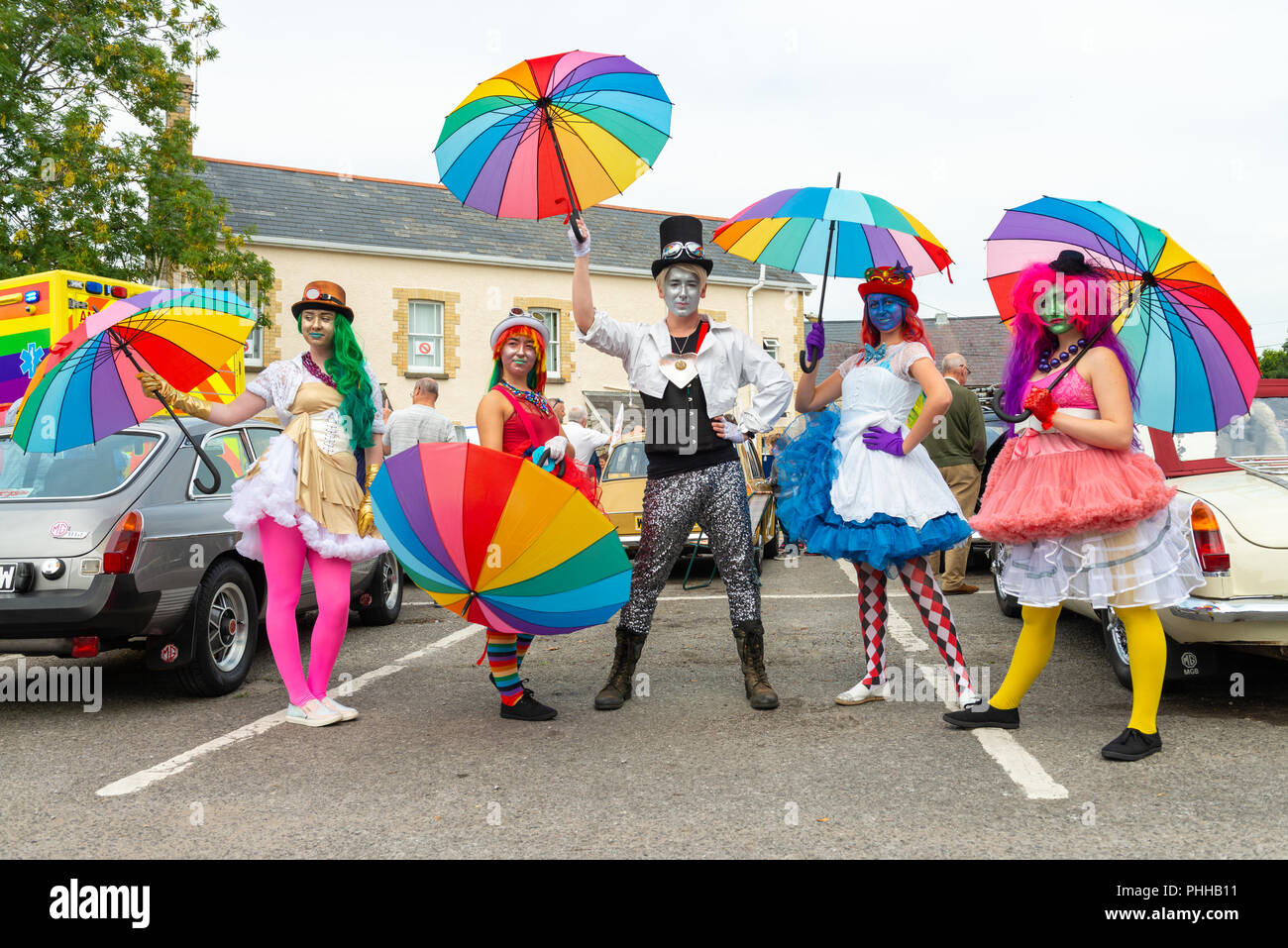 Cardiff, UK. 01st Sep, 2018. Colourful and glittery Participants in the first ever Llantwit Major Pride event today, Saturday 1/9/18 in The Vale of Glamorgan, South Wales, UK. Credit: Roger Donovan/Alamy Live News - Stock Image