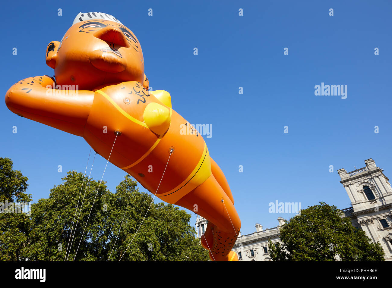 London, U.K. - 1 September 2018: A balloon of London mayor Sadiq Khan is flown in Parliament Square at the Make London Safe protest. Credit: Kevin Frost/Alamy Live News - Stock Image