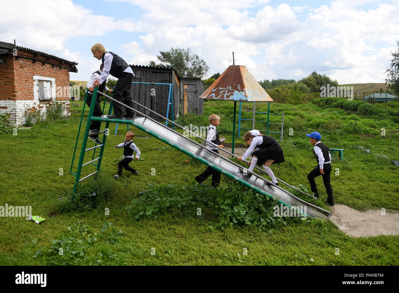 ALTAI TERRITORY, RUSSIA – SEPTEMBER 1, 2018: Children on a