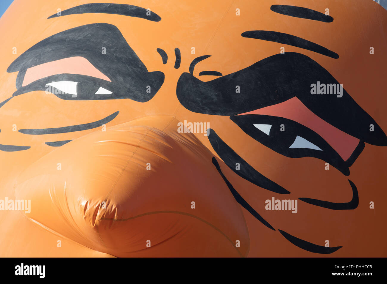 London, UK. 1st September, 2018. Detail of The Sadiq Khan Bikini blimp after being launched in Parliament Square. Organiser Yanny Bruere mocking the Mayor of London 'ban the bikini' policy and highlighting the high crime rate in the capital. Credit: joe Kuis/Alamy Live News - Stock Image