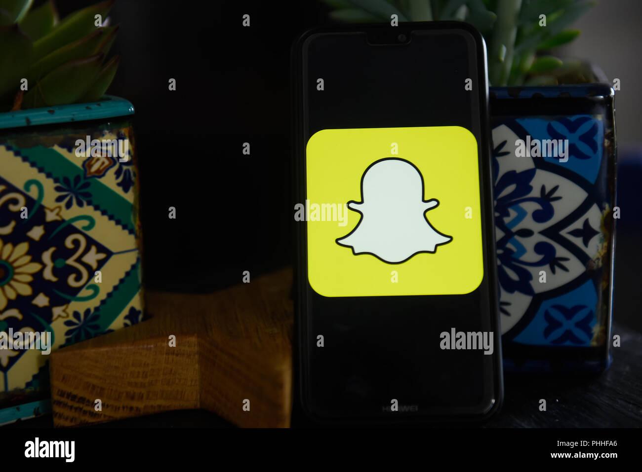 September 1, 2018 - Krakow, Poland - Snapchat logo is seen