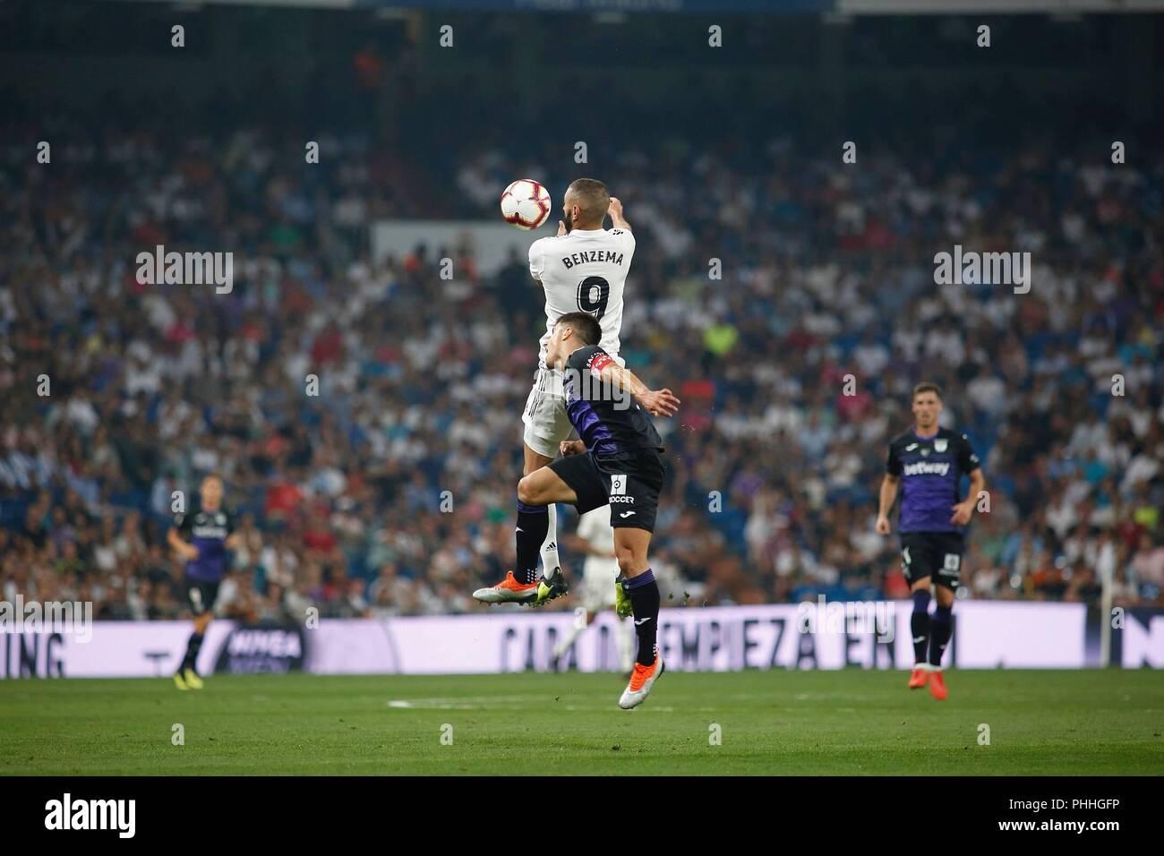 Madrid, Spain. 1th September 2018: Bemzema, forward from Real  Madrid CF, during  LaLiga Santander round 3 against CD Leganes at  Santiago Bernabeu. (Photo by: Ivan Abanades Medina / Cordon Press).   Cordon Press - Stock Image