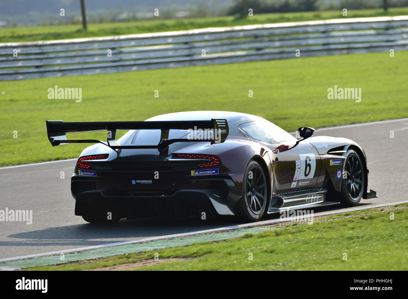 Snetterton Motor racing circuit, Snetterton, Norfolk, England, Saturday 1st September 2018. Gleb Stepanov and Stephen Tomkins, Aston Martin Vulcan, in the Aston Martin Owners Club Race (AMOCR)  Aston Martin GT Challenge event. The much applauded Aston Martin Vulcan, a £2M+ track only car, made its UK race debut at the Aston Martin Owners Club Race meeting at Snetterton in Norfolk on Saturday 1st September. One of only 27 such vehicles it took the chequered flag in the days Aston Martin GT Challenge with drivers Gleb Stepanov and Stephen Tomkins taking stints at the wheel. Chris McEvoy/Alamy Li - Stock Image