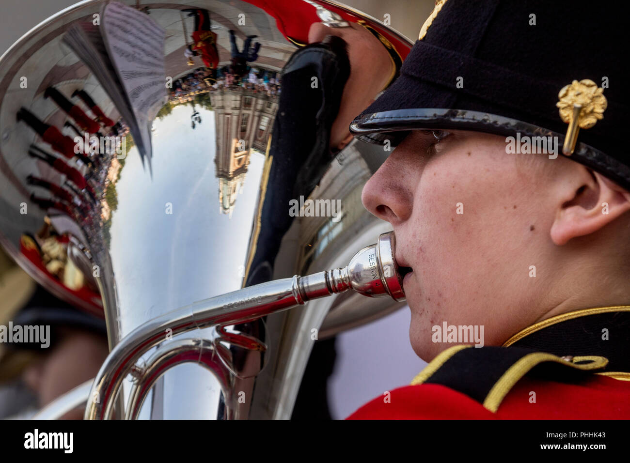 Moscow, Russia. 1st September 2018. Members of the the Brentwood Imperial Youth Band participating in the 2018 Spasskaya Tower International Military Music Festival, perform at the Tsaritsyno park in Moscow Credit: Nikolay Vinokurov/Alamy Live News Stock Photo
