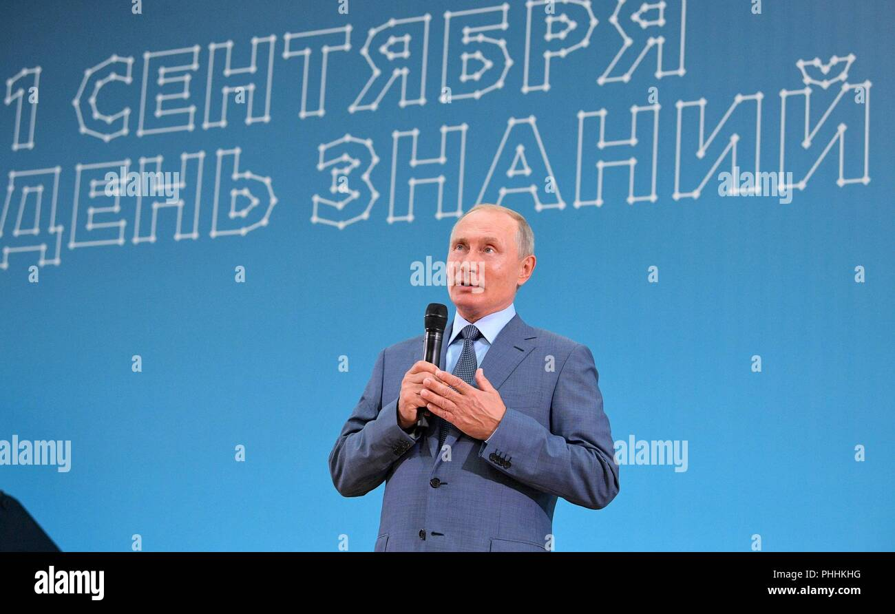 Sochi, Russia. 1st Sept, 2018. Russian President Vladimir Putin addresses students and teachers during a visit to the Sirius Educational Centre for Gifted Children on the first day of school known as Knowledge Day September 1, 2018 in Sochi, Russia. Credit: Planetpix/Alamy Live News - Stock Image
