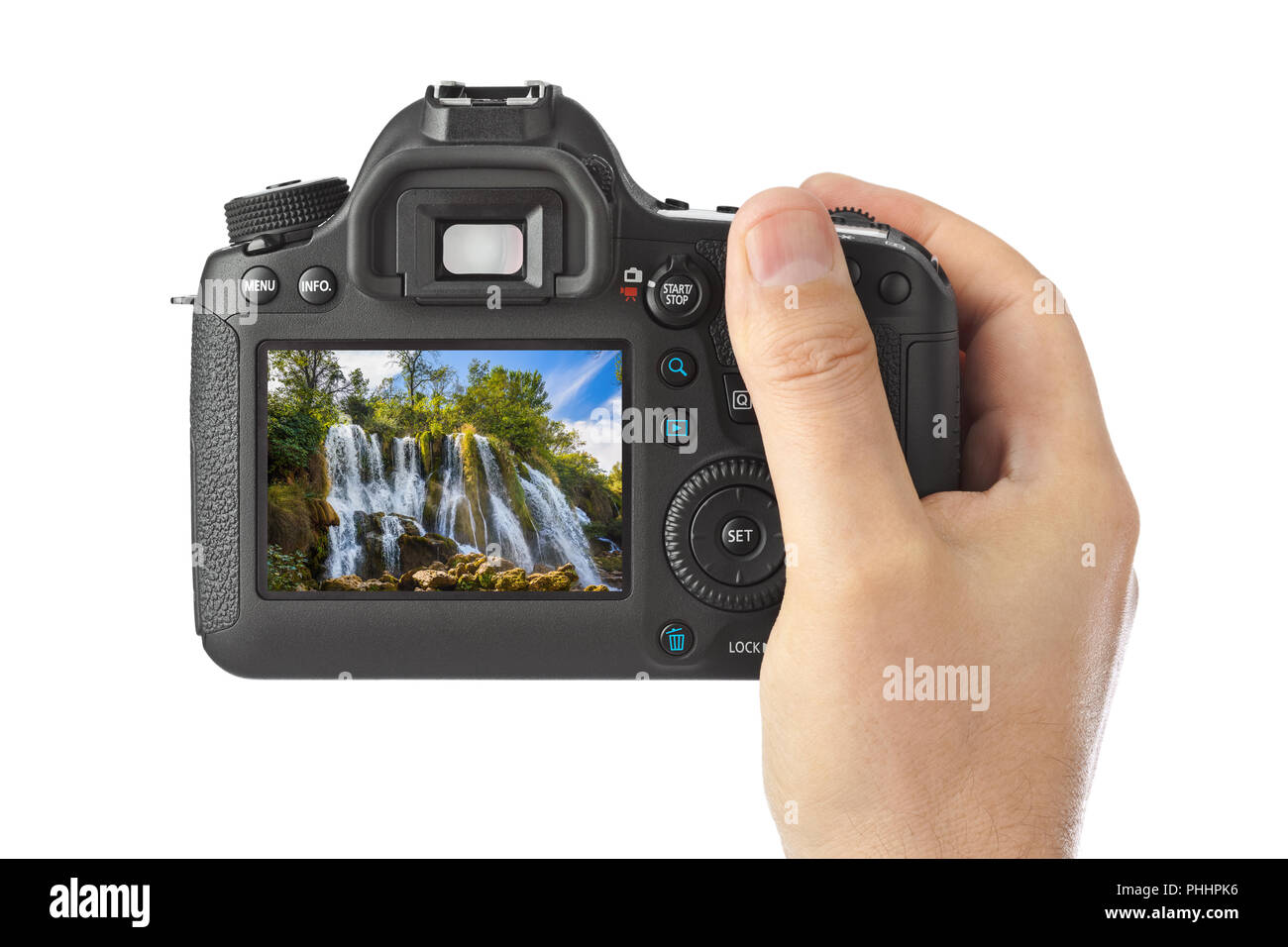 Camera and Kravice waterfall in Bosnia and Herzegovina (my photo) - Stock Image