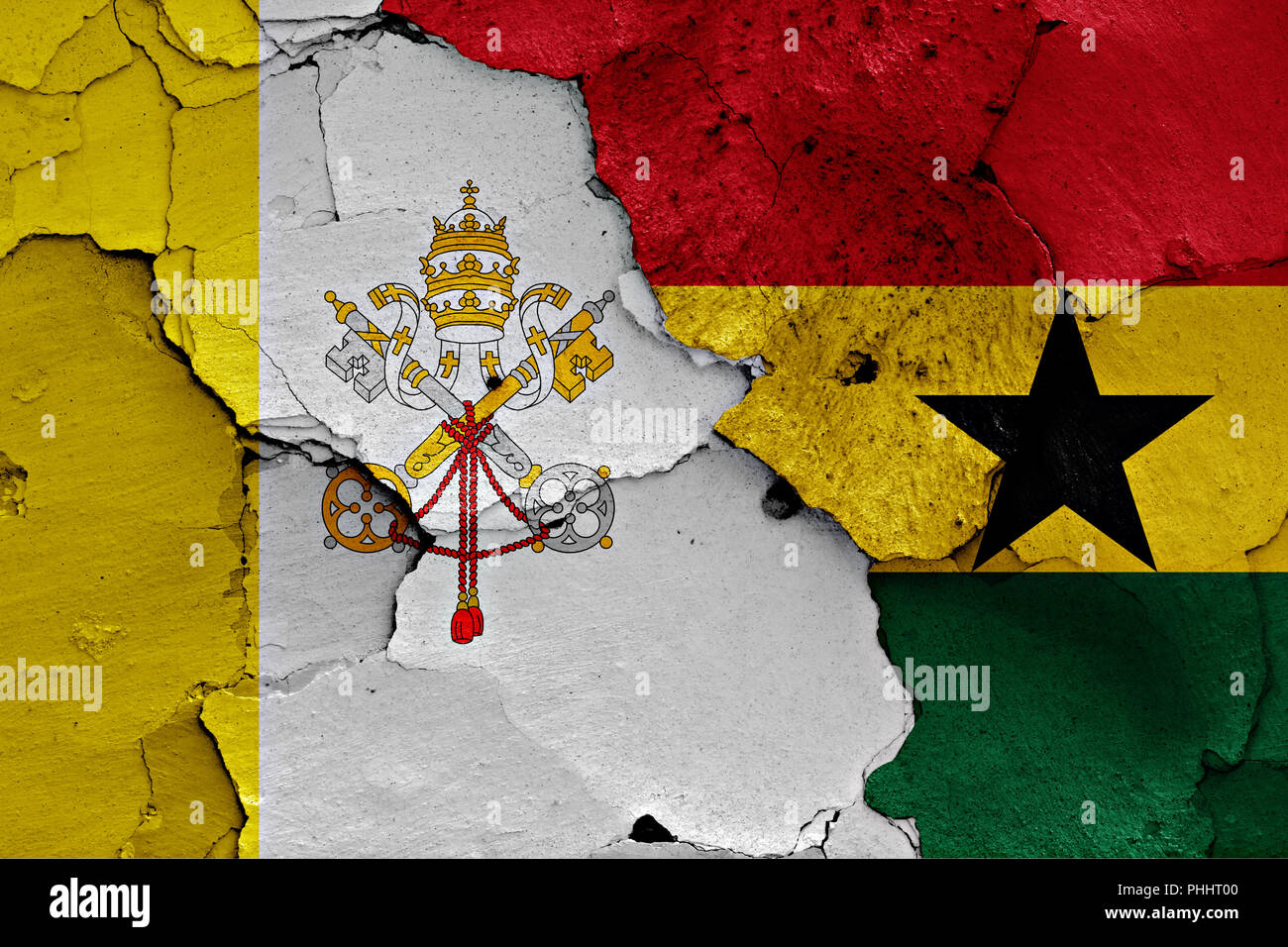flag of Vatican and Ghana painted on cracked wall - Stock Image