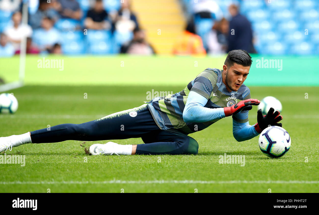 6fa27d6e0 Manchester City s goalkeeper Arijanet Muric during warm-up during the  Premier League match at the