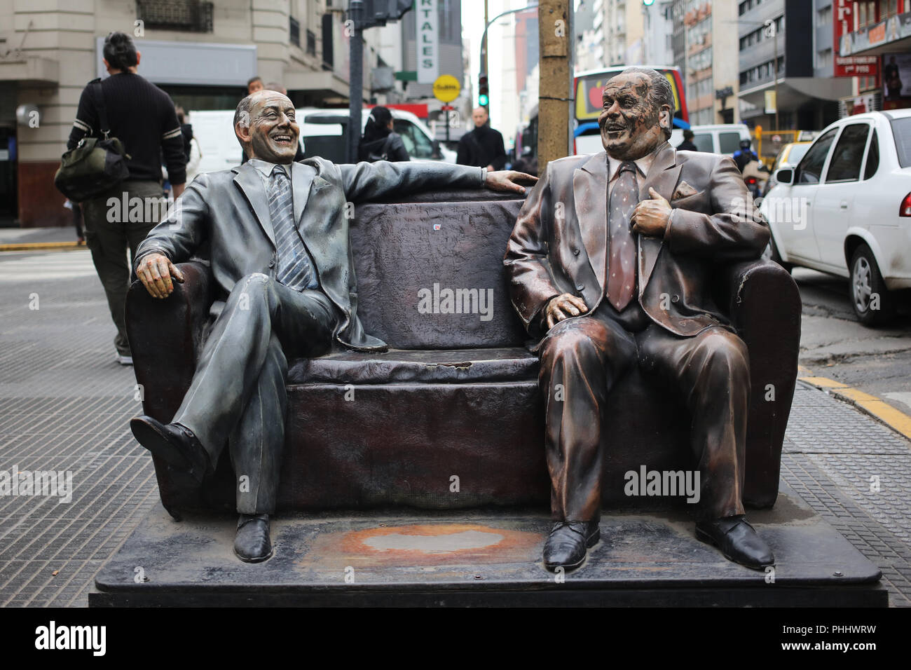 Olmedo and Potales statue, two historic comedians of argntina, placed in Avenida Corrientes in Buenos Aires Stock Photo