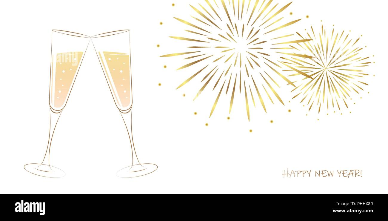 New Year golden fireworks and champagne glasses on a white background vector illustration EPS10 - Stock Vector