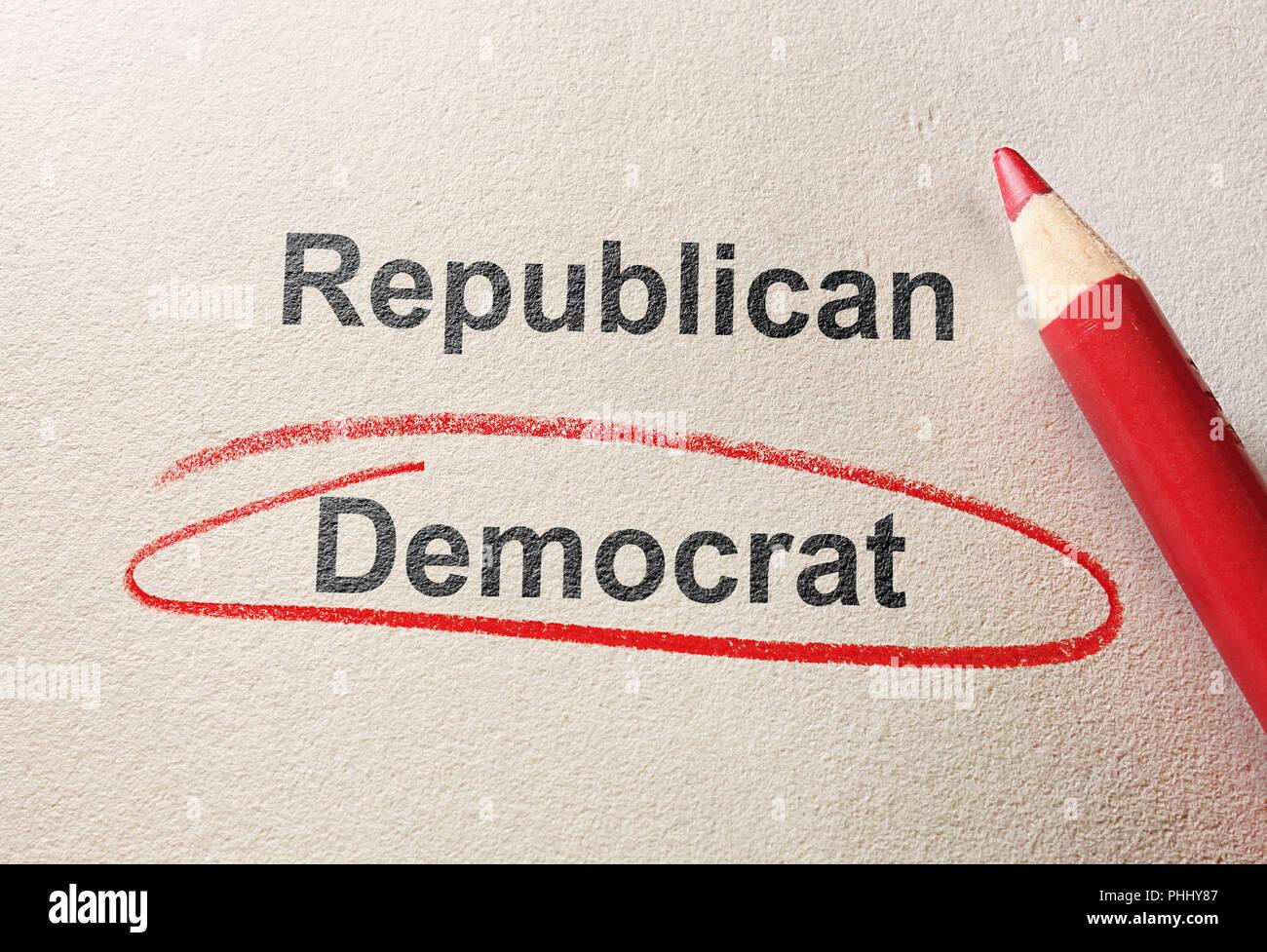 Red circle Democrat - Stock Image
