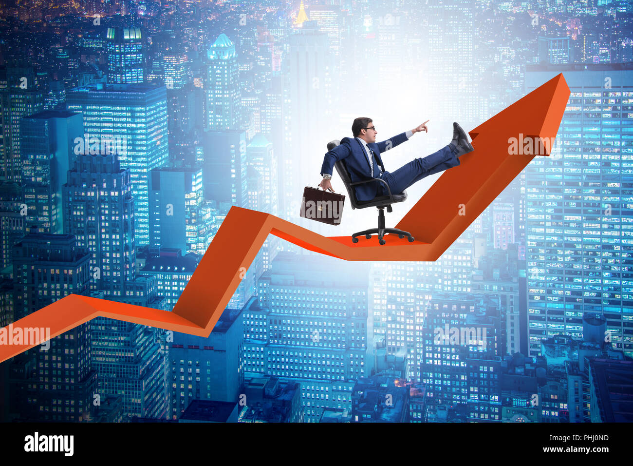 Businessman in economic growth concept Stock Photo