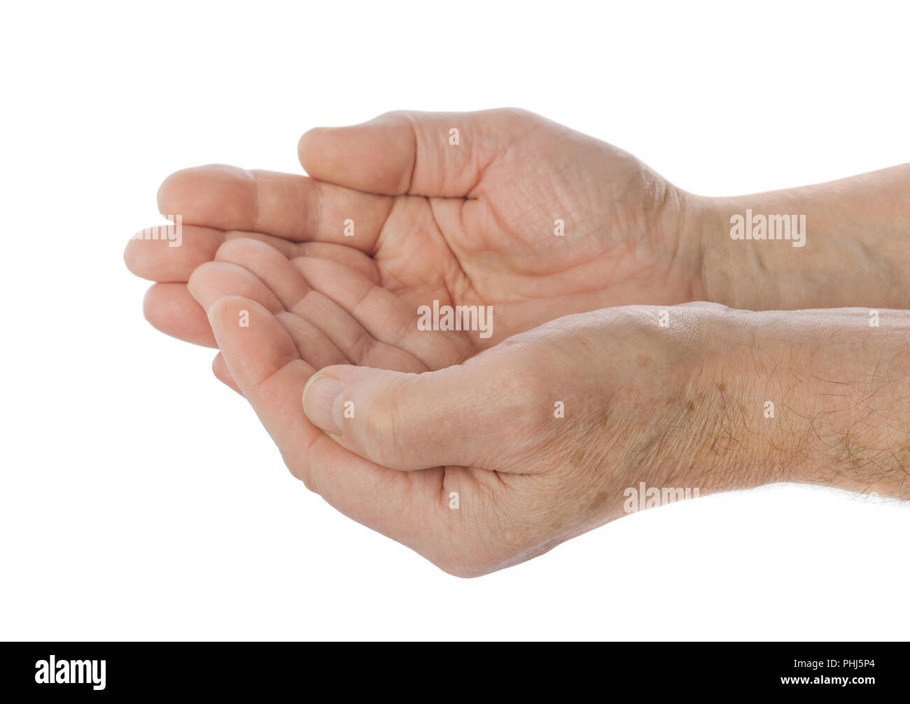 Empty cupped hand of old man - Stock Image