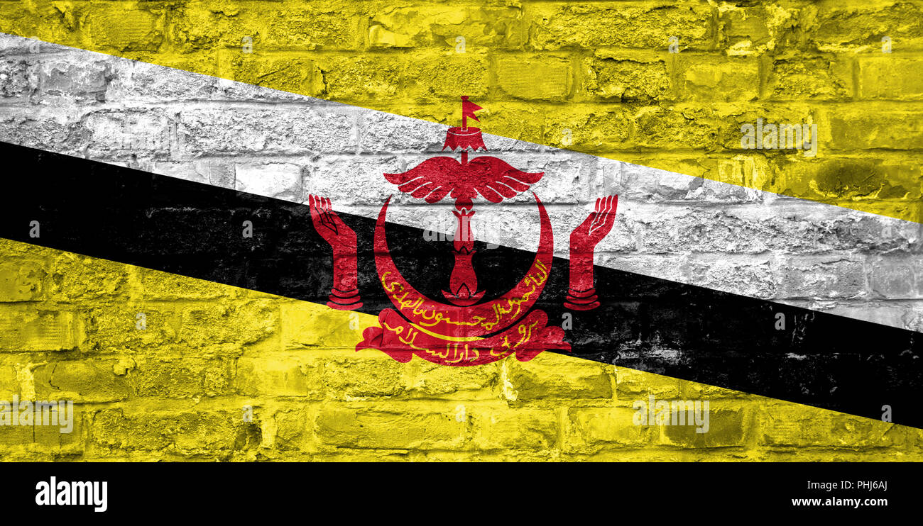 Flag of Brunei over an old brick wall background, surface - Stock Image