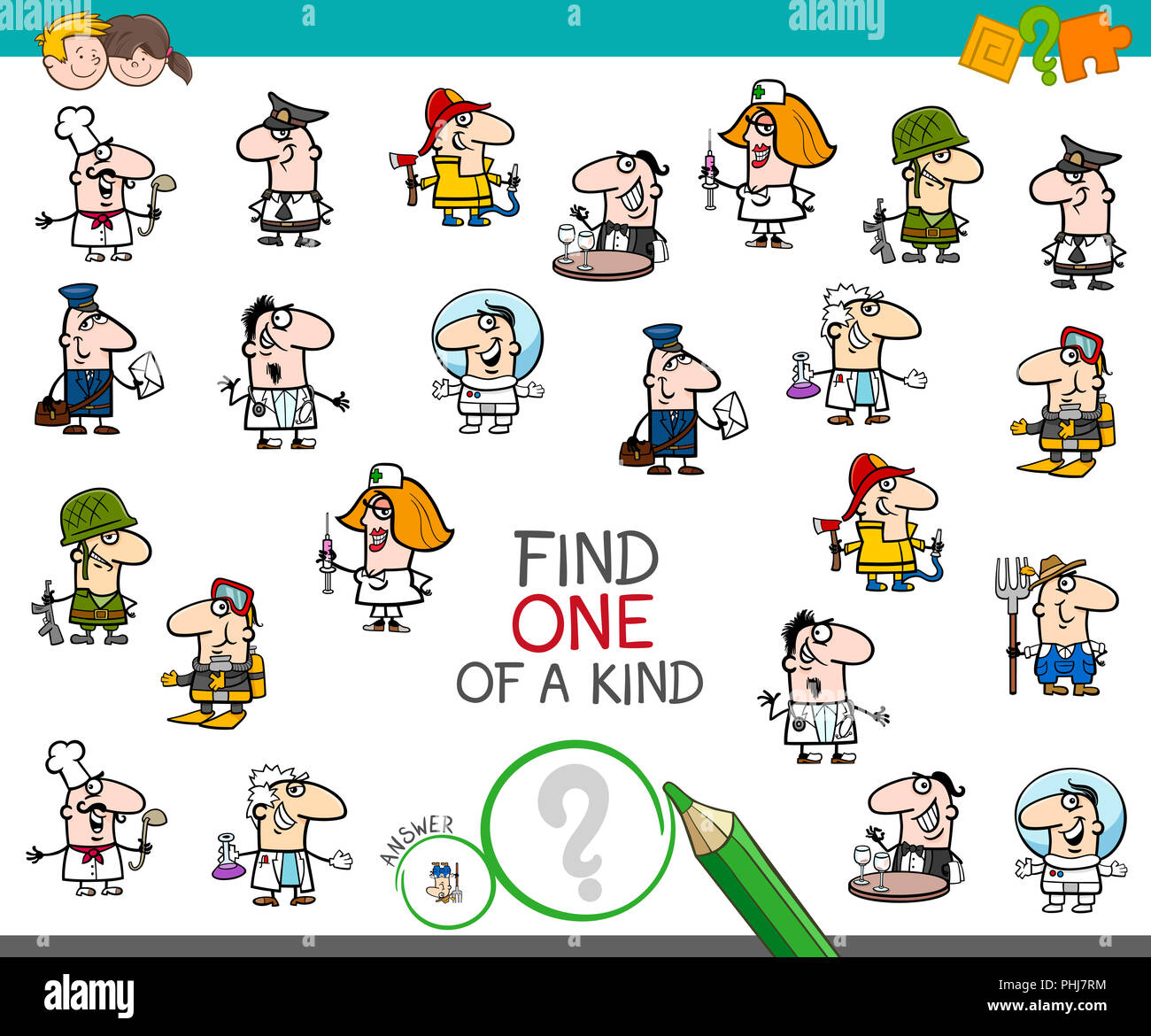 one of a kind game with people jobs color book - Stock Image
