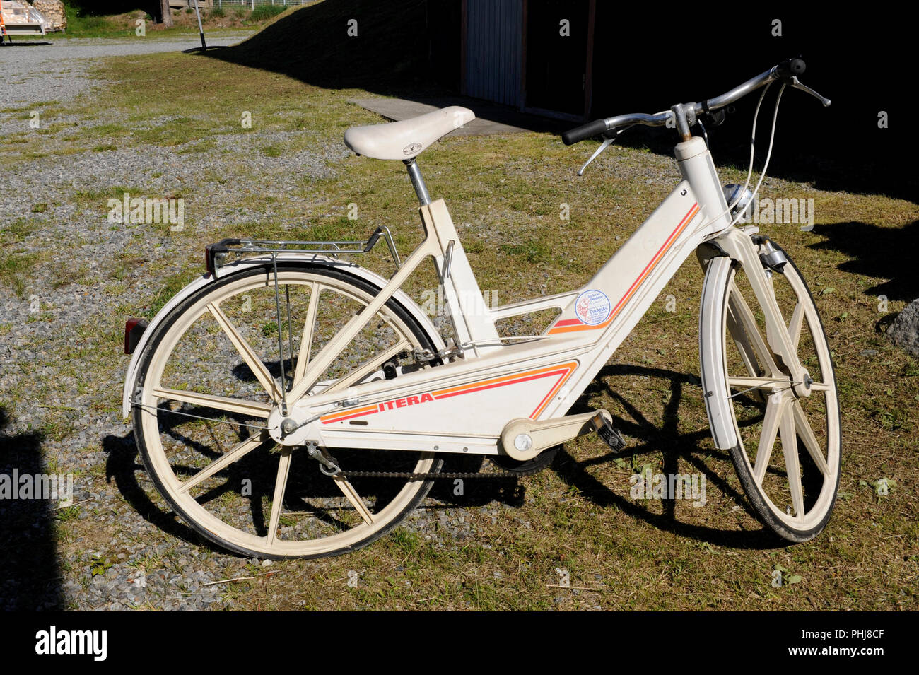 The Plastic bicycle. The Itera Plastic Bicycle, a 1980s Swedish attempt to modernize the bicycle by replacing metal with injection moulded plastic composite materials. The project ended in technical and commercial failure after three years. The production was made at a plastic factory in Vilhelmina Sweden. Production ended in 1985. - Stock Image