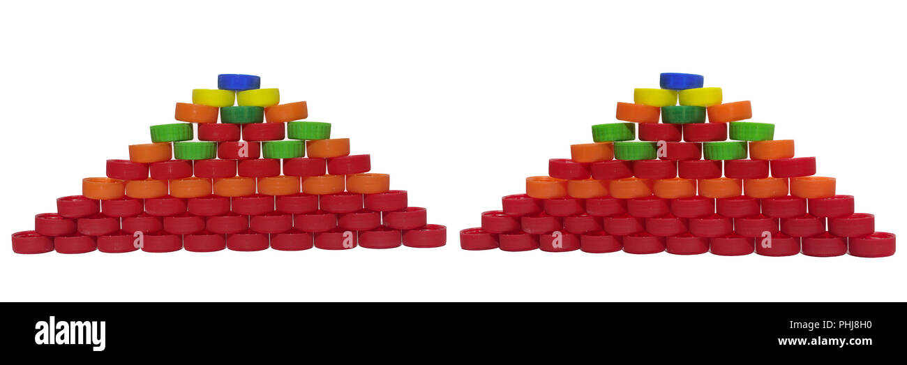 pair of pyramids made out of colored plastic caps for beverage bottle - Stock Image