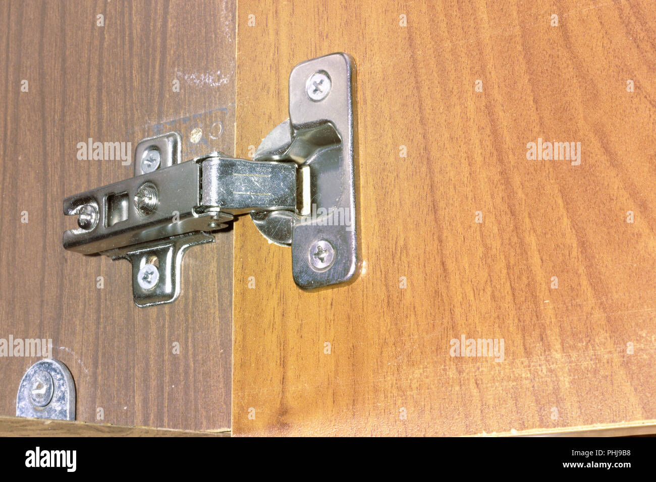 Concealed Cabinet Hinge. Reliable Fastening Of New Door To The Old Wardrobe  Rack; With Clipping Path