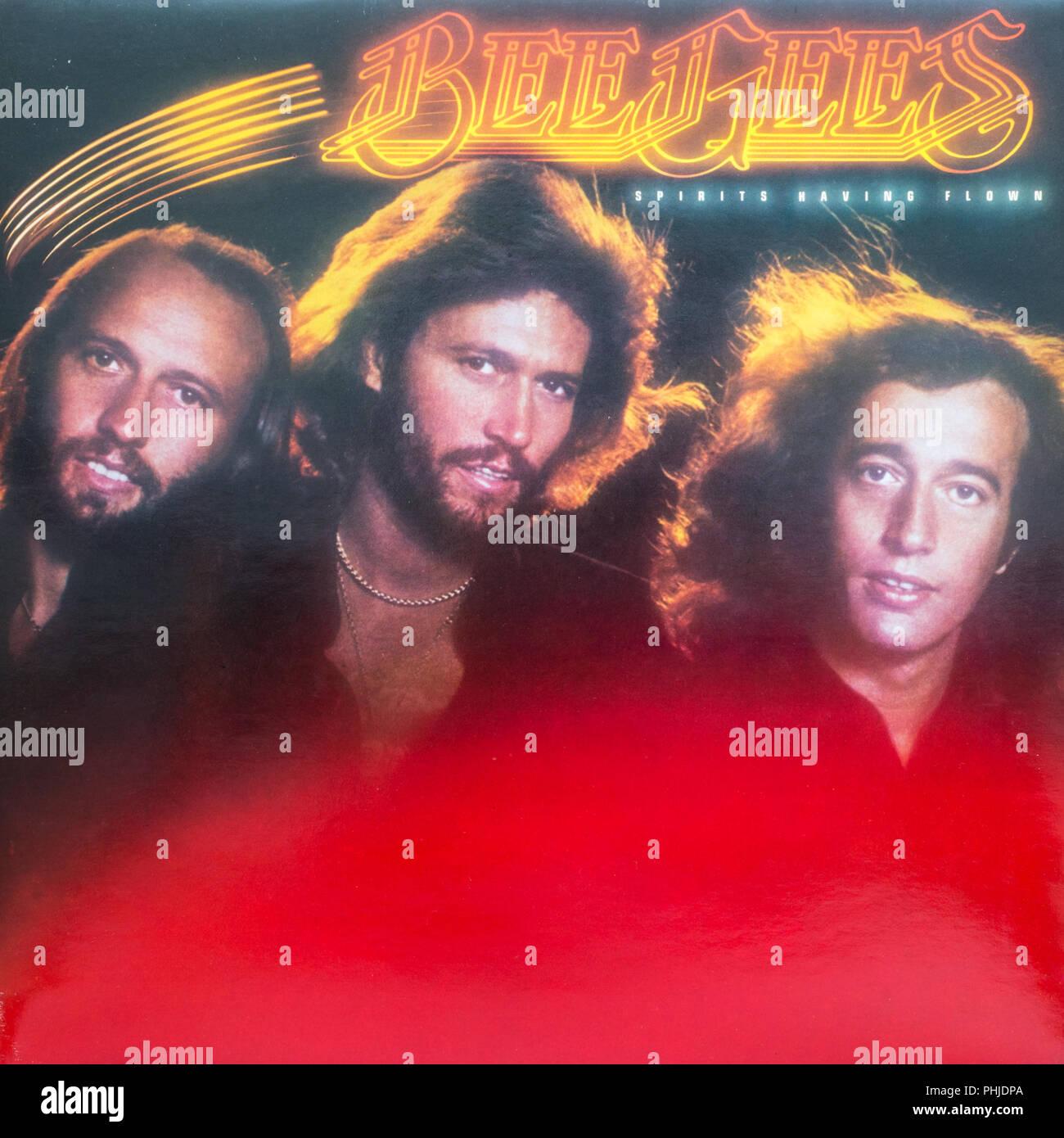 Bee Gees Spirits Having Flown album cover - Stock Image
