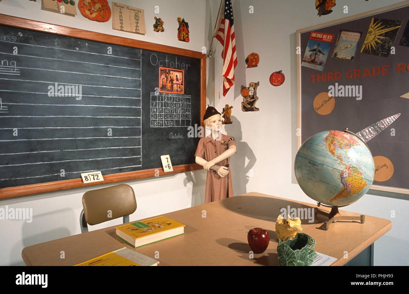 Replica of Grade School Classroom in a Museum, USA - Stock Image