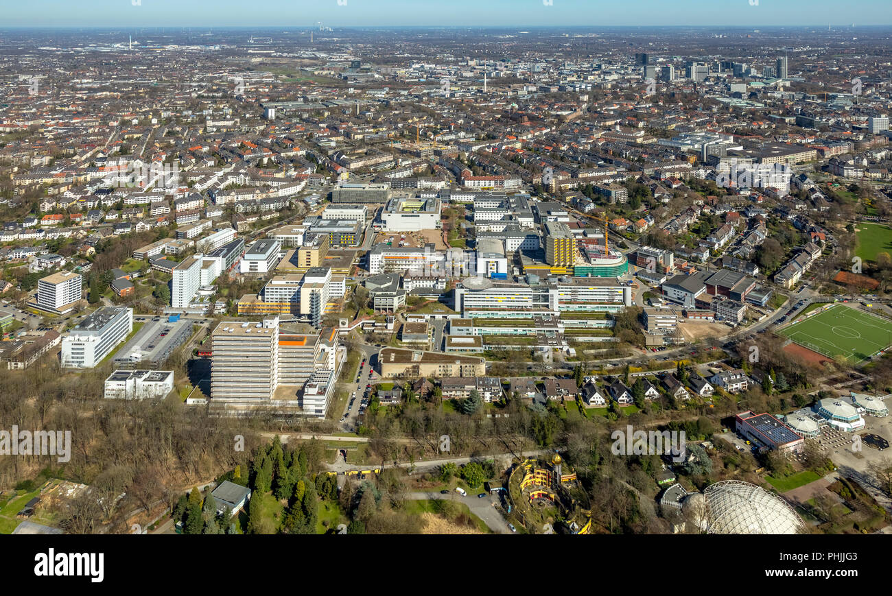 University Hospital Essen with construction sites in Essen in the Ruhr area in NRW. Essen, Ruhr area, North Rhine-Westphalia, Germany, Essen, DEU, Eur - Stock Image