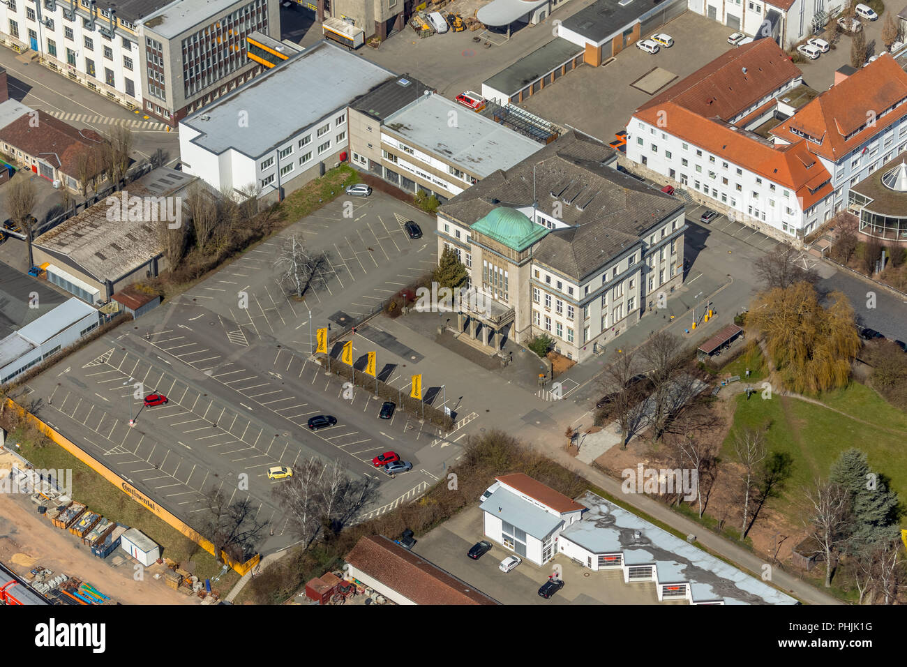 Train station forecourt, At the main station in Korbach. District town Korbach, district Waldeck-Frankenberg in Hessen, Germany, district town Korbach - Stock Image