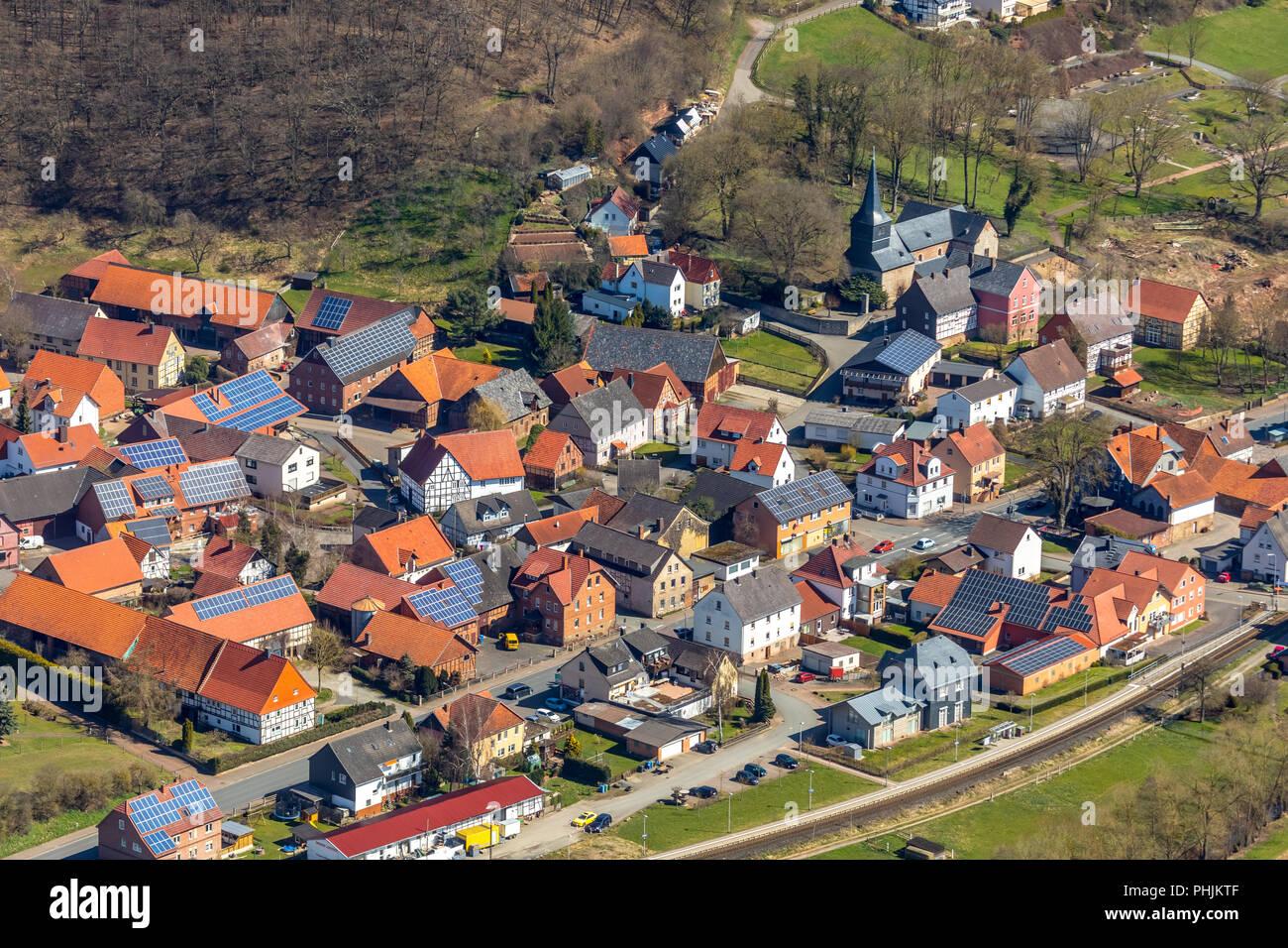 , - Basilica of Saint Veith in Twisteal in Hesse. Twistetal, North Hessian district Waldeck-Frankenberg, Hessen, Germany, Twistetal, DEU, Europe, aeri - Stock Image