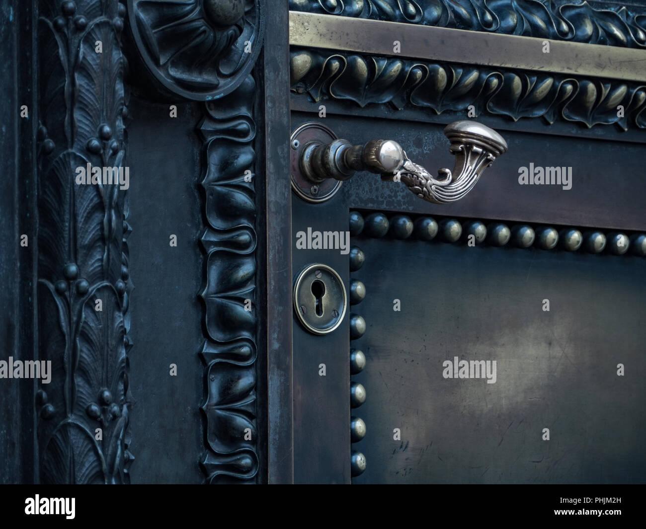 doorknob  antique door - Stock Image