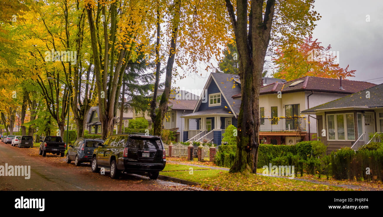 Quite raining day afternoon  autumn season in Vancouver Canada - Stock Image