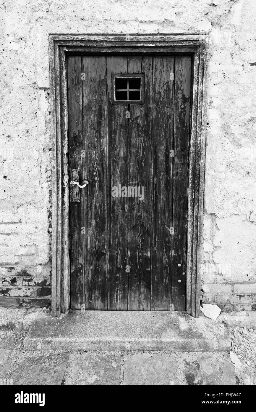 An old wooden door at Brno castle - Stock Image