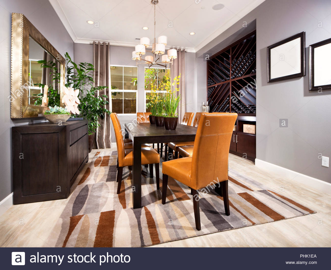 Dining room with pot plants - Stock Image