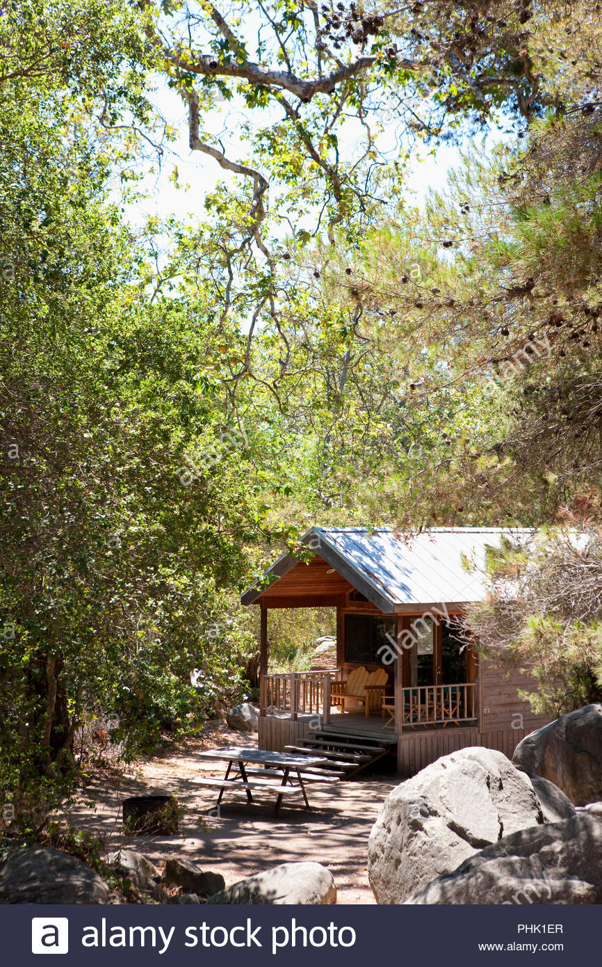 Wooden cabin by trees - Stock Image