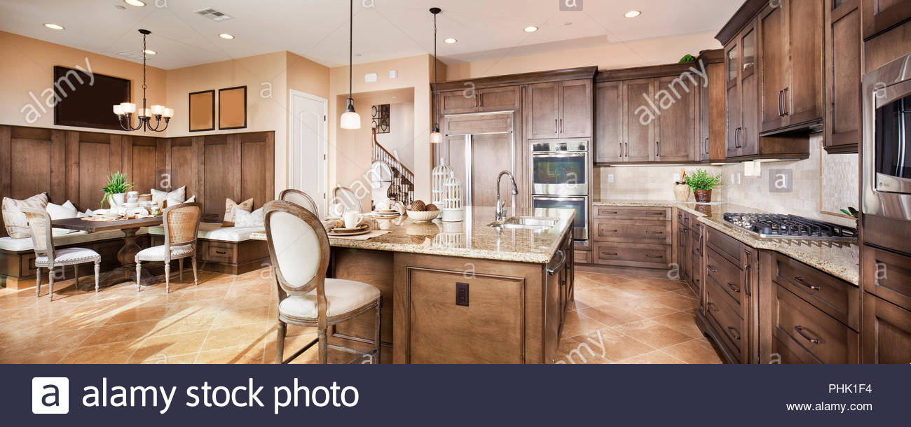 Wooden kitchen - Stock Image