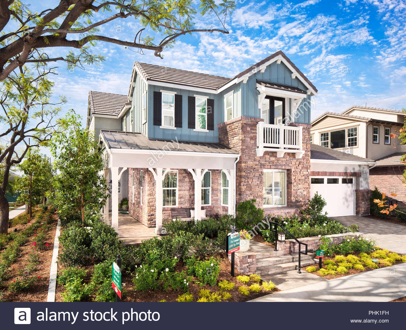 House and garden exterior - Stock Image