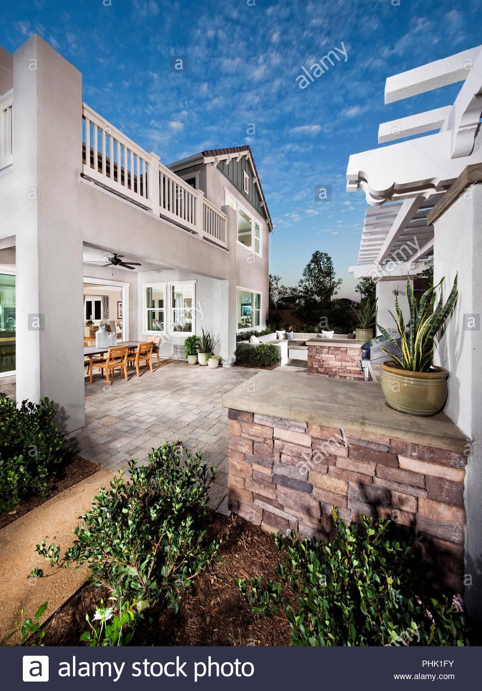 House and garden exterior - Stock Image