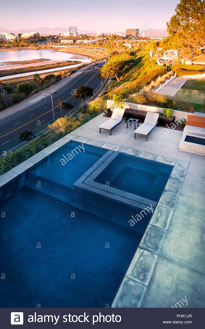 High angle view of swimming pool Stock Photo