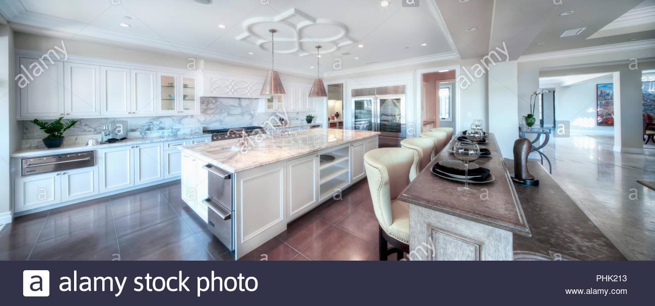 White kitchen - Stock Image