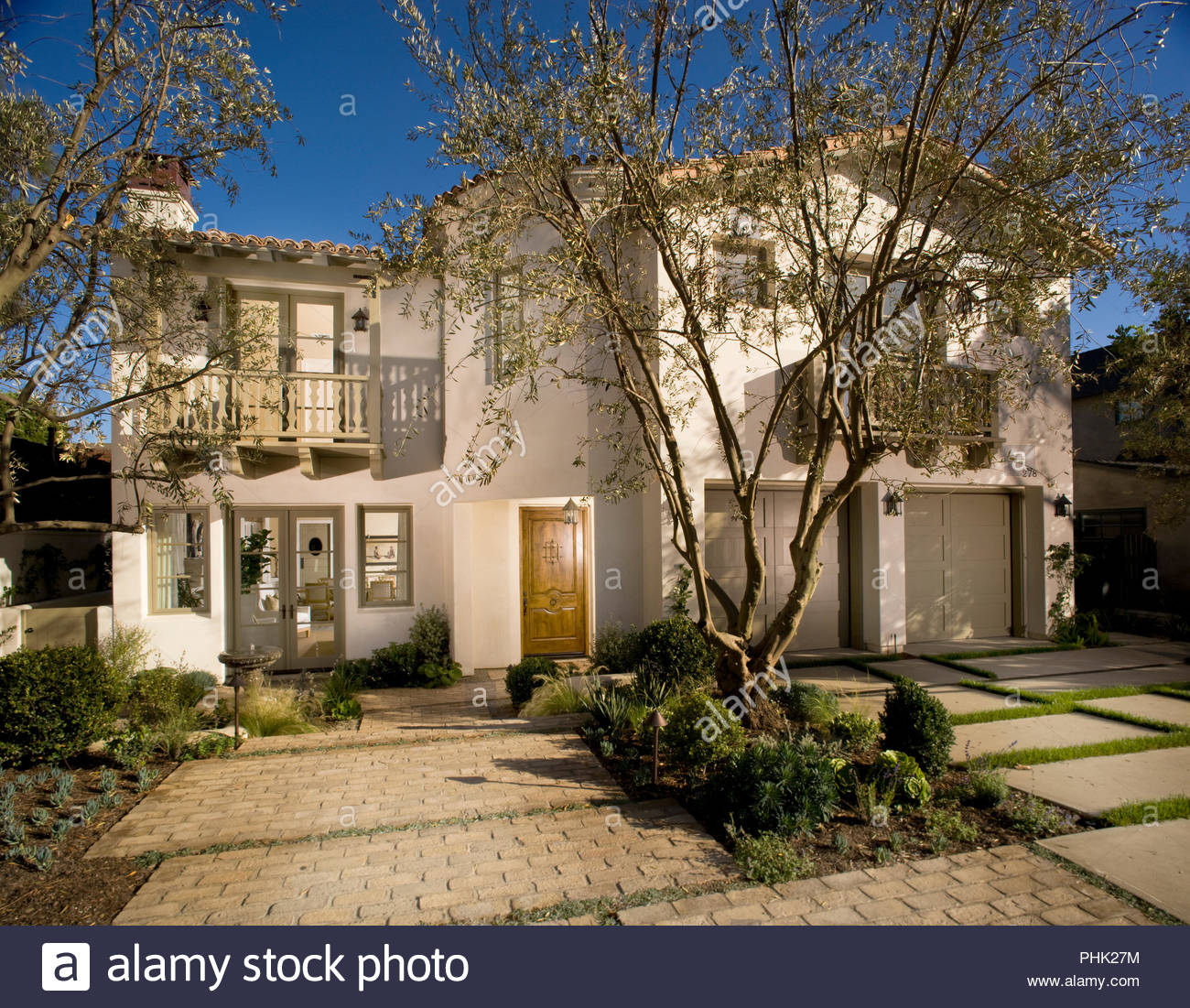 Trees in front of house - Stock Image