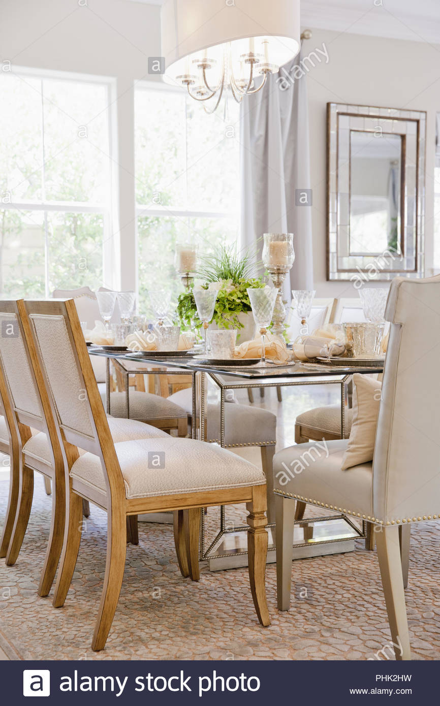 Dining room with set table - Stock Image