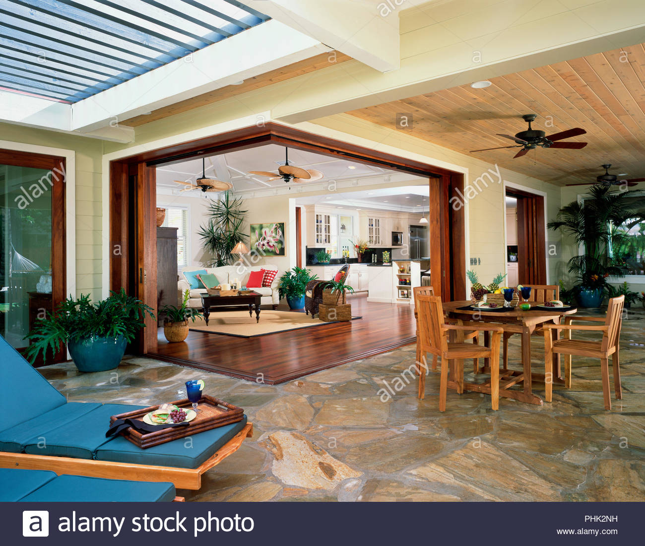 Patio and living room in house - Stock Image