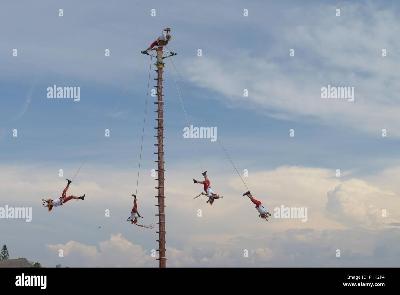 Voladores de papantla or PAPANTLA FLYERS - Stock Image