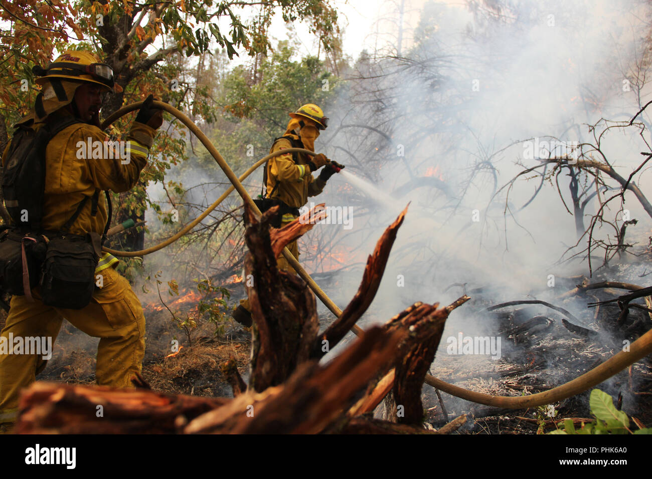 Firefighters from the Cal Fire San Diego Strike Team during operations to control the Ferguson Fire near Yosemite National Park July 25, 2018 in Lush Meadows, California. - Stock Image