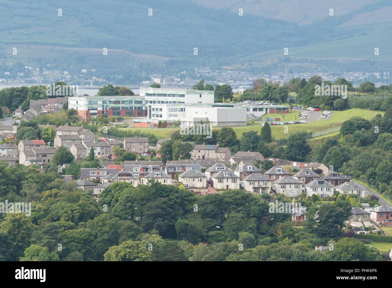 St Columbas High School - a Roman Catholic comprehensive school in Gourock, Scotland, UK - Stock Image